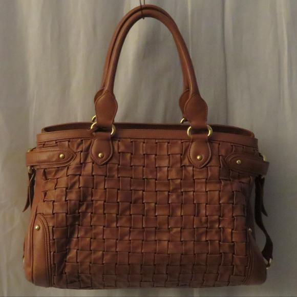 Escada Handbags - AUTHENTIC ESCADA CHESNUT BASKETWEAVE SATCHEL BAG 2a66da46bef15